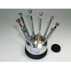 9 Screw driver stand silver plastic,  0.5 to 2.5