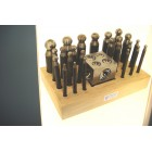 "Dapping Punches 24pcs in Wooden Stand with 2"" block"